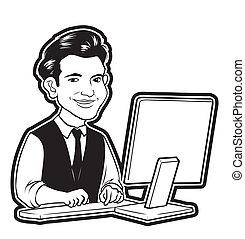 en línea, hombre de negocios