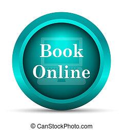 en línea, icono, libro
