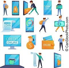 en línea, iconos, estilo, conjunto, caricatura, préstamo