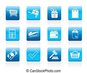en línea, iconos, tienda
