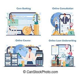 en línea, idea, set., servicio, plataforma, o, finanzas, ...