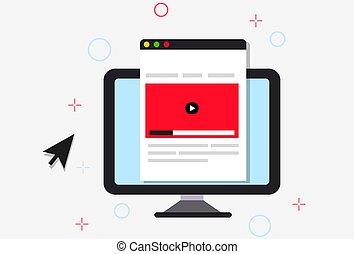en línea, ilustración, curso
