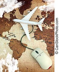 en línea, internet, avión