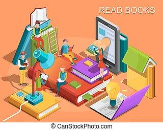 en línea, library., el, proceso, de, educación, el, concepto, de, aprendizaje, y, lectura, libros, en, el, library., universidad, studies., lectura, gente, isométrico, plano, design., vector, ilustración