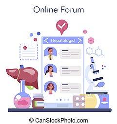 en línea, marca, ultrasonido, servicio, hepatologist, doctor, platform., o