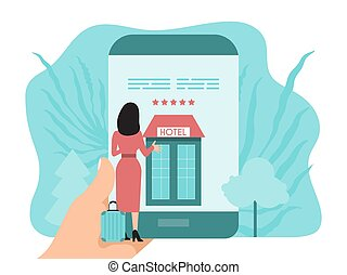 en línea, mujer, buiding, smartphone, mano, reservación, habitación, concept., tenencia, libros, aplicación, hotel, screen.