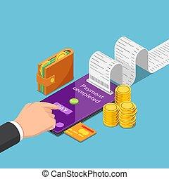 en línea, paga, uso, dinero, smartphone, hombre de negocios,...