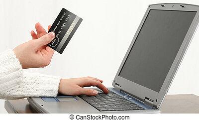 en línea, pagar, compras, o, cuentas