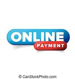en línea, pago, vector, botón