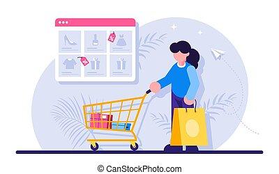 en línea, plano de fondo, supermercado, compras, mujer, ventana, moderno, examinador, plano, goods., paquete, concept., illustration., tranvía, catálogo