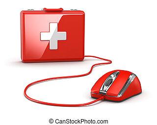 en línea, primero, aid., mose, y, médico, kit.