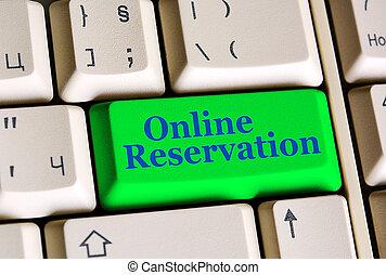 en línea, reservación, en, teclado