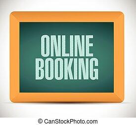 en línea, reservación, muestra del camino