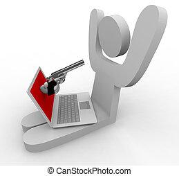 en línea, robo, -, computador portatil