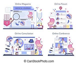 en línea, servicio, cuidado, doctor, set., salud, gastroenterología, idea, plataforma, o