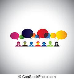 en línea, social, red, de, las personas hablar, charlar, -,...