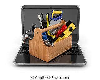 en línea, support., computador portatil, y, toolbox., 3d