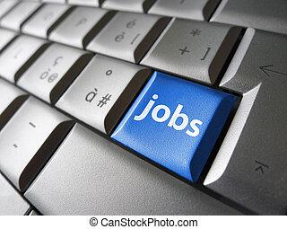 en línea, trabajos, búsqueda, concepto