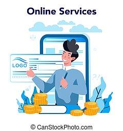 en línea, underwriter, financiero, o, seguro, platform., ...