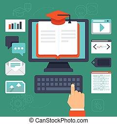 en línea, vector, educación, concepto