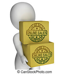 en línea, ventas, cajas, exposición, compra, y, venta, en,...