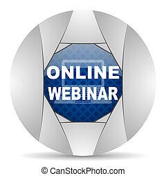 en línea, webinar, icono