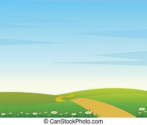 en, land, landskab, hos, vej