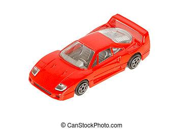 en, leksak bil, röd, sportscar