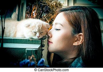 en, lille pige, hos, en, cute, kat, .