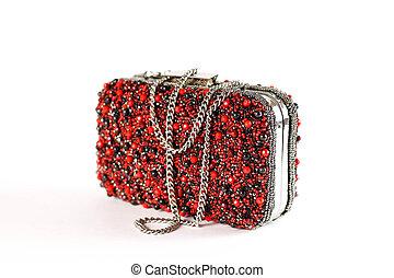 en, lille, rød, kvindelig, håndtaske, belagt, hos, stones., clutch., lukke, oppe., isoleret, på hvide, baggrund.