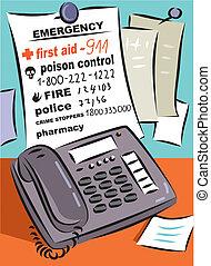 en, liste, i, nødsituation, og, medicinsk, antal, uden for, en, telefon