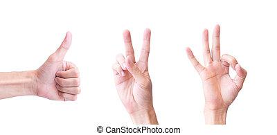 en,  man, begrepp, visa, ung, tre, två, bakgrund, vit,  hand, lycklig
