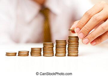 en, mand, opblussende, mønter