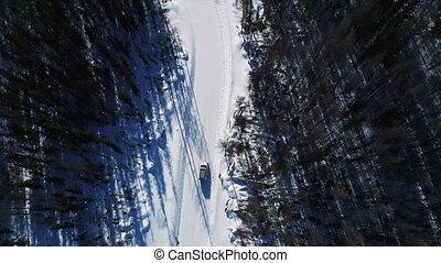 en mouvement, blanc, vue, voiture, route, day., hiver, ...