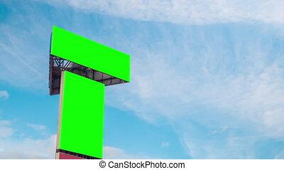 en mouvement, bleu, -, deux, vert, vide, panneaux affichage, blanc, timelapse, contre, nuages, ciel