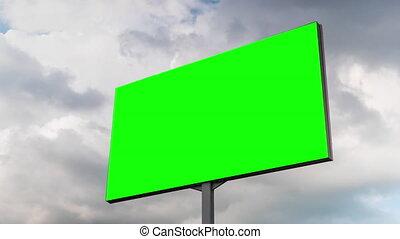 en mouvement, bleu, -, vert, vide, blanc, timelapse, contre, nuages, ciel, panneau affichage