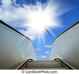 en mouvement, business, moderne, escalator(pen, architecture...