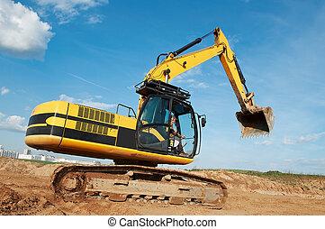en mouvement, carrière, excavateur, chargeur