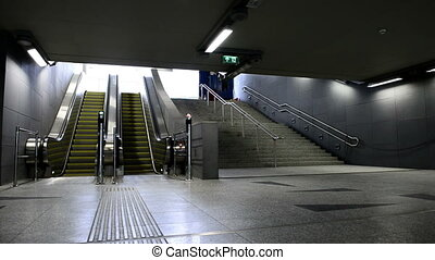 en mouvement, centre, business, escalator