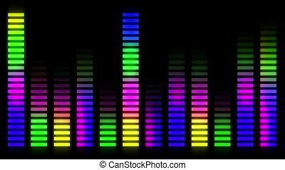 en mouvement, compensateur, barres, audio, coloré