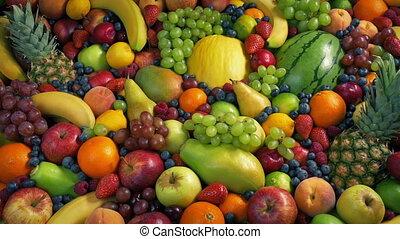 en mouvement, coup, mondiale, fruits