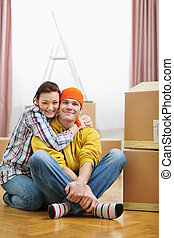 en mouvement, couple, boîtes, jeune, portrait