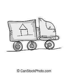 en mouvement, dessiner, camion, conception