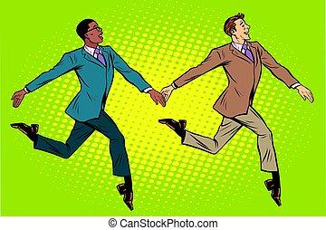 en mouvement, elegantly, groupe, multi-ethnique, hommes...