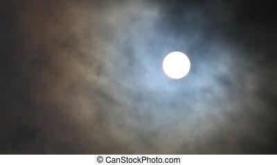 en mouvement, entiers, nuages, dehors, lune