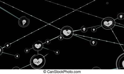en mouvement, fond, connecteurs, noir