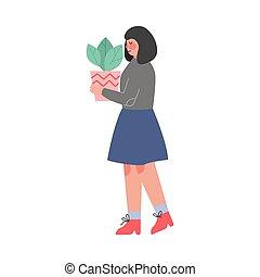 en mouvement, girl, femme, pot fleurs, plante, soucier, ...