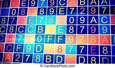 en mouvement, hexadecimal, données, loopable, fond