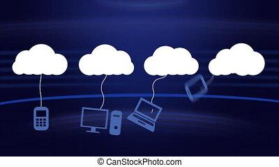 en mouvement, icônes, blanc, bleu, nuage, réseaux, fond