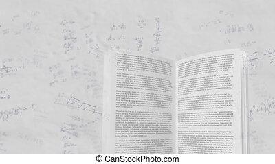 en mouvement, mathématique, contre, livre ouvert, équations